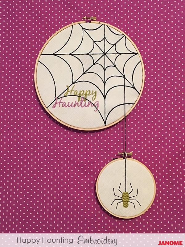 Happy Haunting Spiderweb Decor